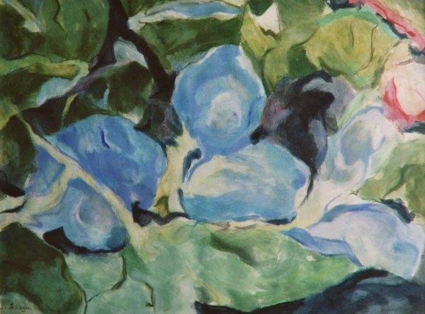 Blaue Stunde, Gouache, 42 x 55 cm
