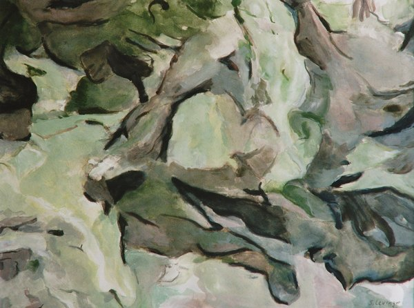 Wandererphantasie, Gouache, 46 x 61 cm