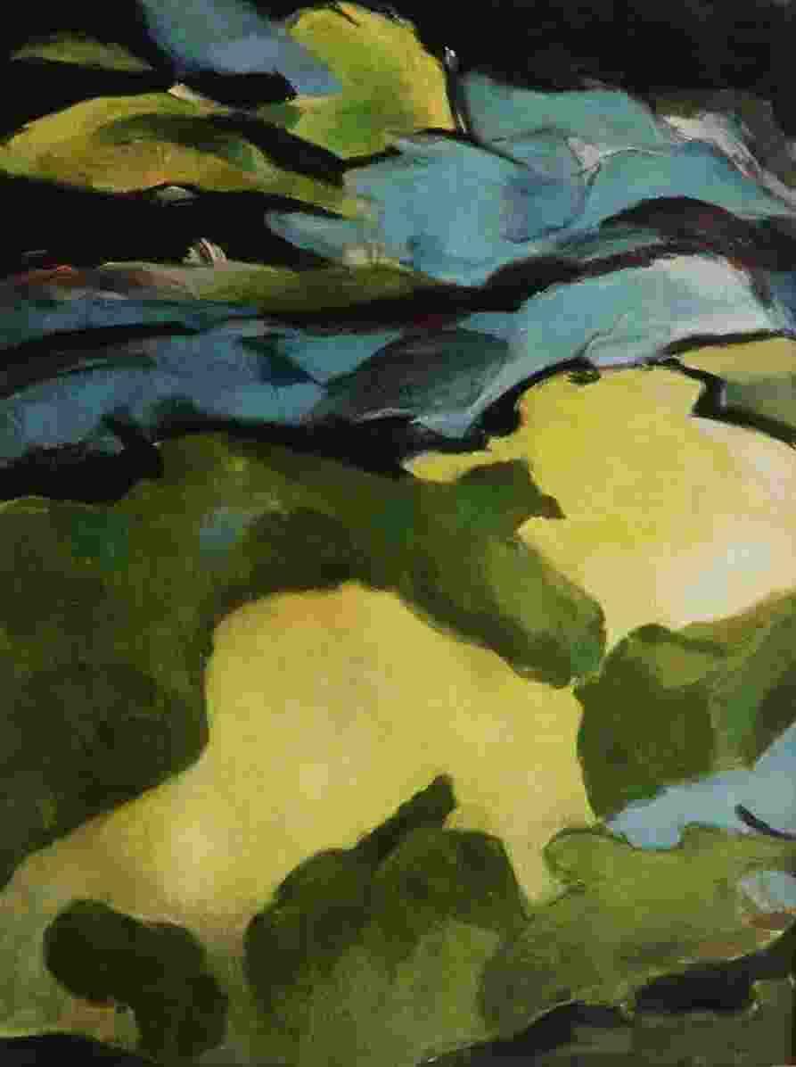 Fuge aus Licht, Mischtechnik auf Papier, 46 x 61 cm